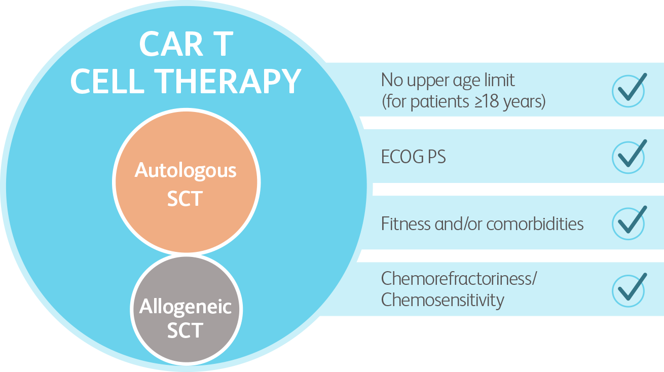 Figure illustrating population that may be eligible for CAR T cell therapy vs ASCT